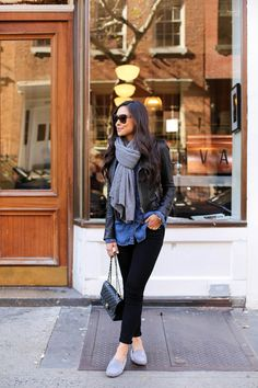 Wear a denim button up shirt with grey moccasins and a matching scarf to get that casual feel, worn here by Kat Tanita. Mocassins: M. Gemi, Jeans: Paige, Jacket: Joie, Rails: LA chambray.
