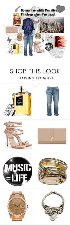 """No napping"" by tara-ogren ❤ liked on Polyvore featuring Chanel, Current/Elliott, Le Silla, Yves Saint Laurent, Monday, Wallis, Rolex and DANNIJO"