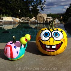 SpongeBob and gary the snail pumpkins! Clever No Carve/Painted Pumpkin Ideas for. - Halloween pumpkinsSpongeBob and gary the snail pumpkins! Clever No Carve/Painted Pumpkin Ideas for Kids Spongebob Pumpkin, Spiderman Pumpkin, Spongebob Crafts, Spongebob Halloween, Minion Pumpkin, Pumpkin Art, Pumpkin Crafts, Pumpkin Carving, Carving Pumpkins