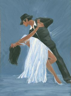 "Tango Dancers - ""Blue Tango"" - Acrylic Painting by Lorraine Skala - Visit my Etsy Shop to purchase notecards & prints"