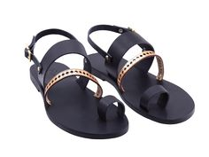 Beneverro Nisus #sandals #black #gold | #handmade, vegetable tanned vachetta #leather, #madeingreece