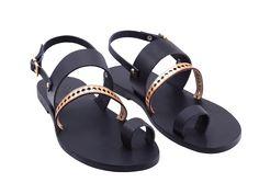 Beneverro Nisus #sandals #black #gold | #handmade, vegetable tanned vachetta #leather, #madeingreece