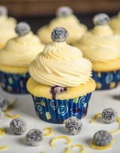Blueberry Lemon with White Chocolate Icing Cupcakes - SO GOOD! I did 1 1/2 the frosting and it was just right!
