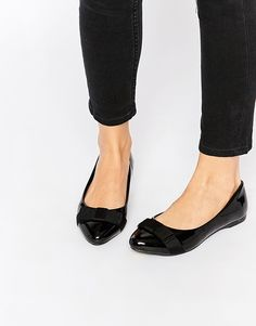 Image 1 ofNew Look Wide Fit Patent Bow Workwear Flat Shoes