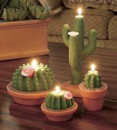 So cute. Candles look like real cactus in clay pots but they are all wax and burn a long time. An Arizona favorite.