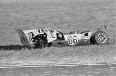 The aftermath of Hall's wreck during the 1965 Monterey Grand Prix at Laguna Seca. William Hewitt photo. The tub was eventually repaired and built into the second Chaparral 2D. That car was then rebuilt as the first Chaparral 2F. In the late 1990's, that car was rebuilt as it was before the 1965 wreck. It currently resides in the museum in Midland, and it is driven on a regular basis. Full circle.