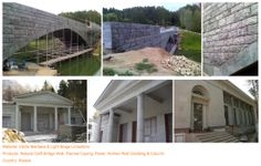 Project (6) Material: Verde Maritaka & Light Beige Limestone Products: Natural Cleft Bridge Wall, Flamed Coping, Paver, Homed Wall Cladding & Column Country: Russia
