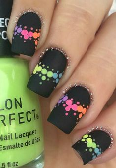 Matte Black Nails With Dotted Pattern ❤️ If your life seems to lack some color introduce the rainbow nails in! With these special nail art ideas you will always feel great and inspired! Funky Nail Art, Funky Nails, Neon Nails, Trendy Nails, Swag Nails, My Nails, Nails 2017, Black Nail Designs, Pretty Nail Designs