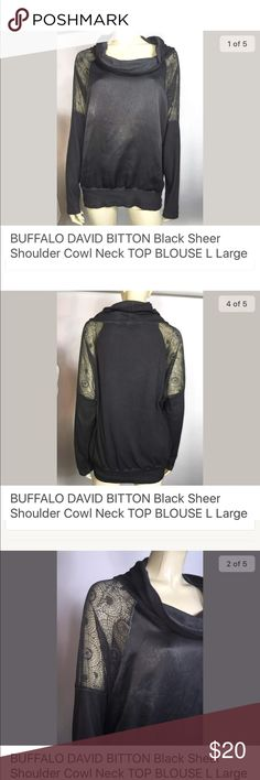 "David Bitton Buffalo Cowl Neck Blouse Perfect condition! Unique top. Bust 48"" Length 26"" Sleeve (from neck) 28"" 100% Polyester Buffalo Tops Blouses"