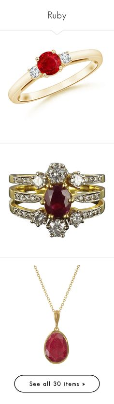 """Ruby"" by martesaltroo on Polyvore featuring jewelry, rings, ruby engagement rings, 14k engagement ring, three stone engagement ring, 14k ruby ring, 14k jewelry, multiple, wedding rings and oval wedding rings"