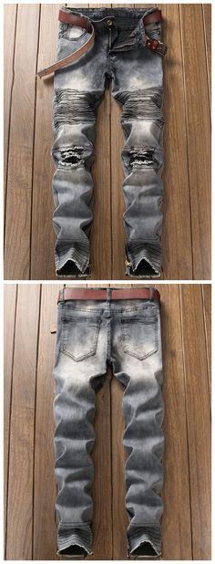 Light Wash Zipper Hem Distressed Biker Jeans Casual Jeans, Slim Jeans, Mens Fashion, Fashion Outfits, Fashion Ideas, Biker Jeans, Get Dressed, Menswear, Zipper