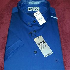 Men's Fitted Short Sleeve 1MX Shirt 16-16&1/2 inch neck short sleeve, fitted cut, button down semi-spread collar, button front, Shirttail hem, cotton/spandex, imported. Express Tops Button Down Shirts
