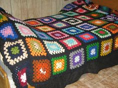 Vintage hand crochet granny square afghan by Linsvintageboutique, $34.50