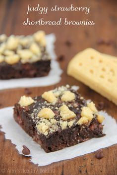 Fudgy Strawberry Shortbread Brownies -- dark chocolaty, decadent & just as easy as a box mix!