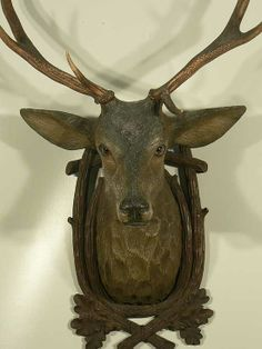 buy antique deer heads, stag heads and other trophys direct from the south of germany. in our gallery you'll find a selection a fine rustic and black forest antiques. Deer Heads, Stag Head, Black Forest Decor, Oh Deer, Animal Heads, Backsplash Ideas, Carved Wood, Woodcarving, Antlers