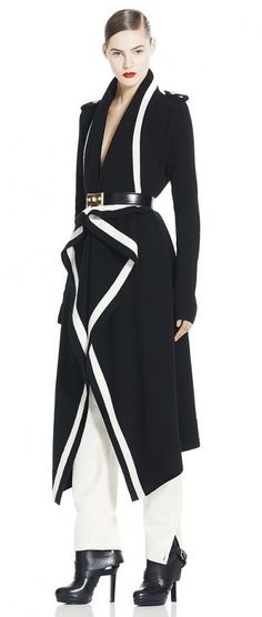 Alexander McQueen BI-COLOUR DRAPED CARDI-COAT