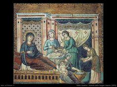 Pietro Cavallini - Natività della Vergine  1291 mosaico Chiesa di Santa Maria in Trastevere - Roma