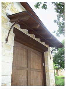 wooden door and awning