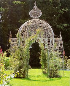 Victorian rose temple - don't you just feel the need to have one of these in your garden : ) can just imagine it if only there was more space lol Gazebo Pergola, Garden Gazebo, Garden Art, Garden Design, Gazebo Ideas, Garden Arches, Victorian Gardens, Gothic Garden, Gazebos