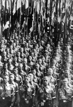 Hitler Youth with standards at a Nazi party rally in Nuremberg.