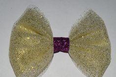 Tulle Gold Glitter Hair Bow Girls Tulle Handmade Hair Bow Glitter Christmas Tulle Bow by RachelsHairBowtique on Etsy
