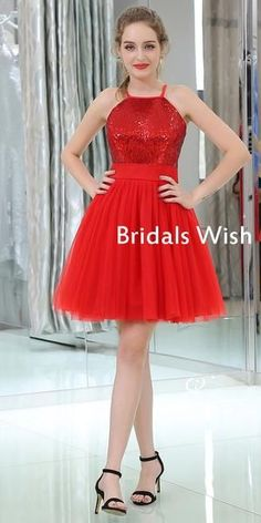 Beautiful Red Sequin&Tulle Zipper Up Homecoming Dress – bridalswish Pretty Homecoming Dresses, Pretty Dresses, Prom Dresses, Formal Dresses, Red Fashion, Fashion Outfits, Fashion Photography Inspiration, Hot Dress, Dream Dress