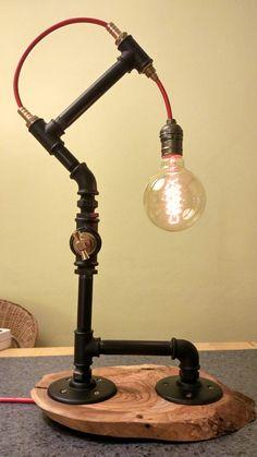 Steampunk lighting black piping table edison bulb lights