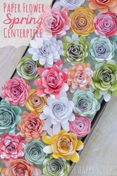 Paper Flower Spring Centerpiece from The Cards We Drew   8 Awesome DIY Easter Decor Ideas
