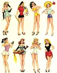 1950's  pin up girls ----- I want a pin up tattoo...