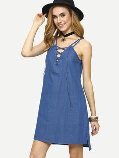 Lace-Up V-Neck Blue Denim Cami Dress 16.99