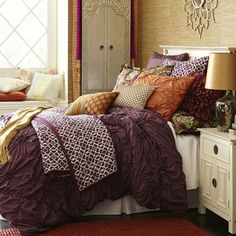 Savannah Bedding & Duvet - Plum from Pier 1 imports. Shop more products from Pier 1 imports on Wanelo. Plum Bedroom, Plum Bedding, Purple Bedrooms, Duvet Bedding, Bedroom Bed, Dream Bedroom, Bedroom Apartment, Bedding Sets, Master Bedroom