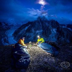 There is a certain intimacy when waking in the middle of the night in a place you love. With headlamps on we began preparing for our day and we weren't alone. Headlamps crept up the Grandes Jorasses Tacul had a line of them lit dots moved along the Mer de Glacé and fanned out from the Envers Hut. Chamonix is a busy place in the middle of the night. @petzl_official #Chamonix by danpatitucci