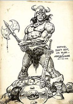 It's hard to think of Conan in American comics without thinking about two artists. Warrior King, Fantasy Warrior, Conquistador, Comic Books Art, Comic Art, League Of Heroes, Literary Characters, Conan The Barbarian, Fantasy Comics