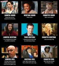 Community Cast by Alignment. (Er, it's an RPG thing. Troy and Abed can explain.)