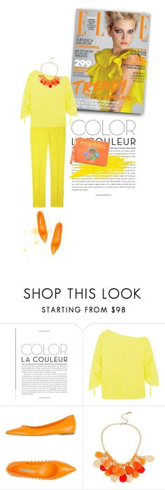 """""""Yellow and Orange"""" by youaresofashion ❤ liked on Polyvore featuring Theory, Roberto Festa, Kenneth Cole, Moschino and ELLE"""