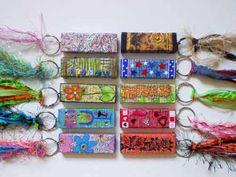Jenga block key chain.  Frills and Fabric archive | Tammy's Studio