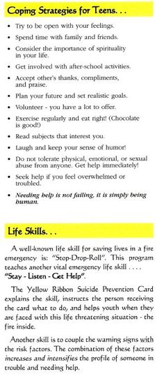 This is a coping skills checklist and as children are in their - soft skills list