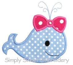 Girl Whale Applique Design by SimplySweetEmbroider on Etsy, $4.00