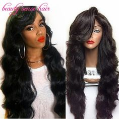130.53$  Watch here - http://alicv5.worldwells.pw/go.php?t=32586445397 - Thick and Soft 180% density Human Hair Full Lace Wigs With side part bangs Brazilian Lace Front Wigs with Baby hair