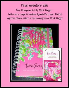 d78bda5f27595e Final Inventory Sale: Lilly Pulitzer Agenda Free Monogram and Drink Hugger  with every purchase.