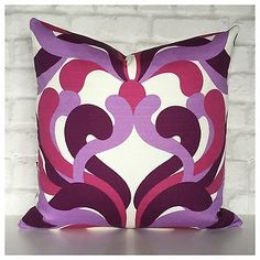 "Vintage Retro 70s Psychedelic Purple & Pink Cushion Cover 18"" x 18"" in Home, Furniture & DIY, Home Decor, Cushions 