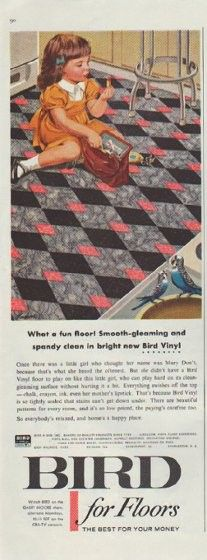 "Description: 1957 BIRD FLOORS AND ROOFS vintage print advertisement ""What a fun floor!""-- What a fun floor! Smooth-gleaming and spandy clean in bright new Bird Vinyl ... Bird for Roofs: Automatically cemented down ... hurricanes won't budge the new Bird Wind Seal Shingle.  -- Size: The dimensions of each page of the two-page advertisement are approximately 5.25 inches x 13.25 inches (13cm x 34cm). Condition: This original vintage two-page advertisement is in Very Good Condition unless otherw..."
