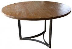 Impressive Furniture For Dining Room Decoration With Round Oak Reclaimed Wood Dining Table And Black Metal Table Legs