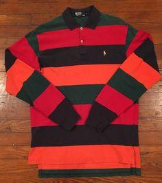 Vintage Ralph Lauren Polo  Z2  Rugby Long Sleeve Shirt 90s Orange Green Blue  Red  PoloRalphLauren  Henley  Casual 3e0eb1d05b52