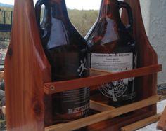 Beer tote, Red Cedar Growler Carrier, 6 / 8 Pack Craft Beer / Drink Holder, BYOB,- Growler shaped sides