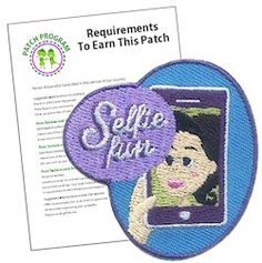 Selfie Fun Patch. Planning a selfie scavenger hunt for your Girl Scouts? The selfie fun patch makes a great addition to their vests. Download our suggested requirements. Available at MakingFriends.com