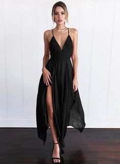 B chicloth women s v neck sleeveless backless slit irregular maxi dress stunning tulle satin bateau neckline see through a line wedding dresses with lace appliques on luulla Cheap Maxi Dresses, Cheap Dresses Online, Grad Dresses, Women's Dresses, Evening Dresses, Casual Dresses, Formal Dresses, Dress Prom, Party Dresses