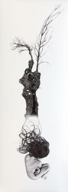 #Inés #González TÍTULO: Driada • TÉCNICA: Tinta china sobre papel • TAMAÑO PAPEL/PLANCHA (cms):108x38/108x38 • EDICIÓN: Pieza única • http://www.a-cuadros.com/artistas/artista/208