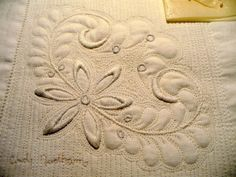 Corner of cutter tablecloth...I quilted it and it will be beaded and then framed.