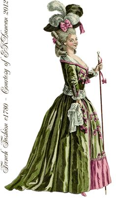 18th century fashion plate. Shows how old the pairing of pink and green is.